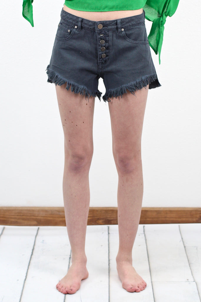 High Waisted Vintage Button Down Shorts {Charcoal}