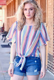 Sophie Multi-Stripe Tie Top {Navy}