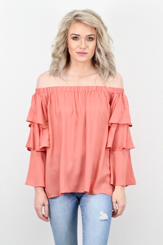 Off Shoulder Layered Ruffle Sleeve Blouse {D. Salmon}