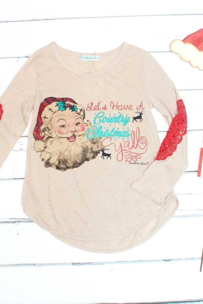 Santa: Country Christmas Y'all Lace Elbow Patch Sweater - The Fair Lady Boutique - 3