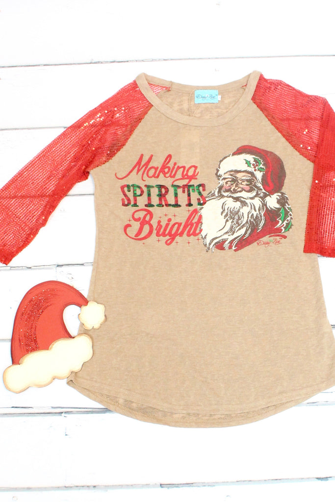 Making Spirits Bright Sequin Sleeve Raglan - The Fair Lady Boutique - 2