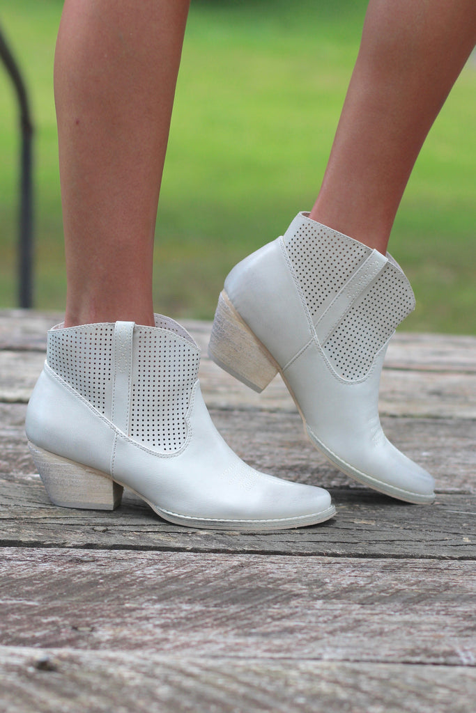 Very Volatile: Mishka Perfed Cowgirl Bootie {Ivory} - The Fair Lady Boutique - 1