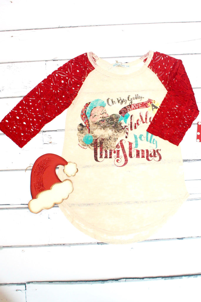 Holly Jolly Christmas Lace Sleeve Burnout Raglan - The Fair Lady Boutique - 2