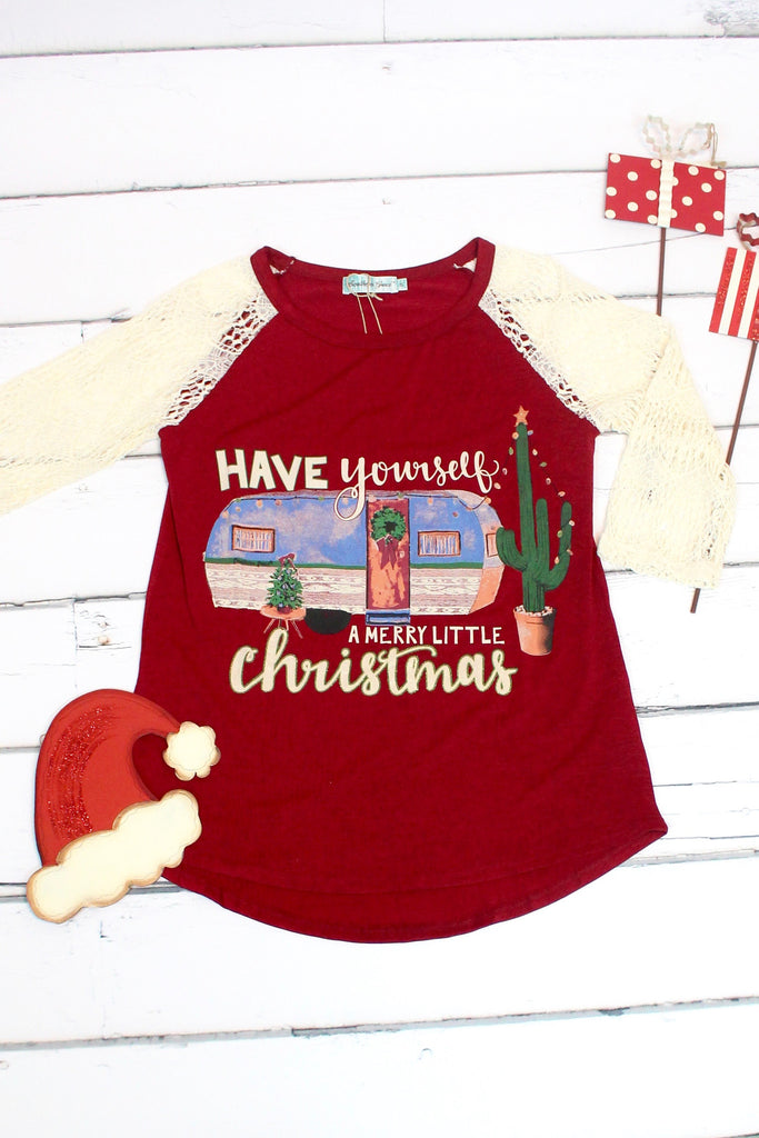Merry Little Christmas Trailer + Cactus Lace Sleeve Raglan - The Fair Lady Boutique - 2