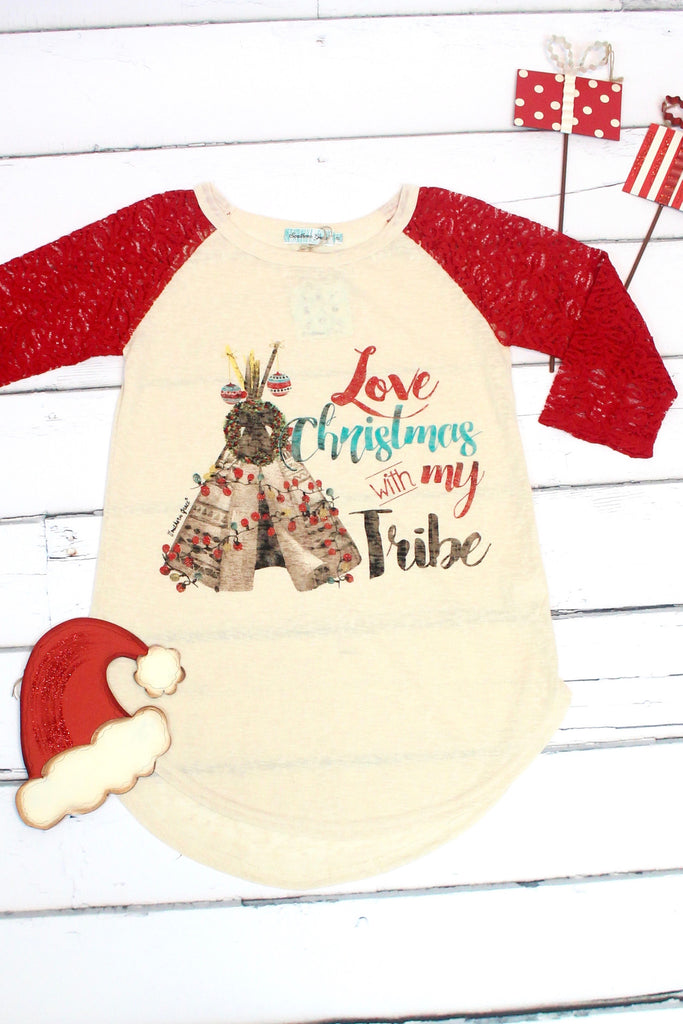 Love Christmas w/ My Tribe Lace Sleeve Raglan - The Fair Lady Boutique - 2