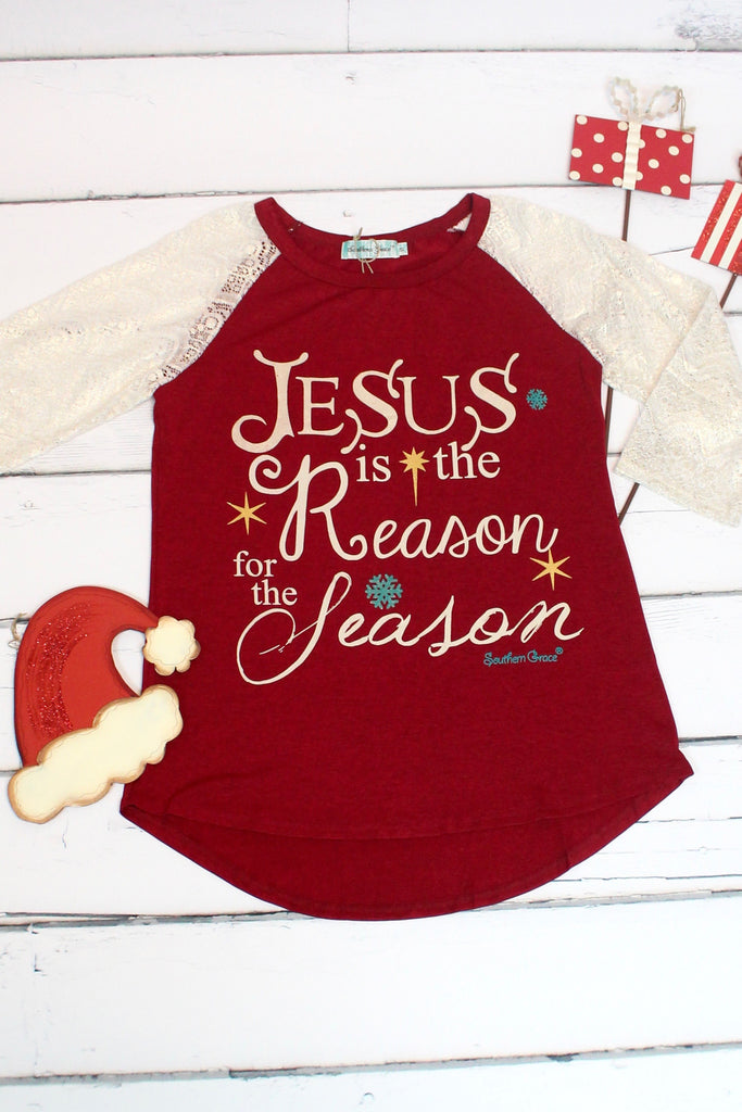 Jesus is the Reason for the Season Glitter Lace Sleeve Raglan - The Fair Lady Boutique - 3