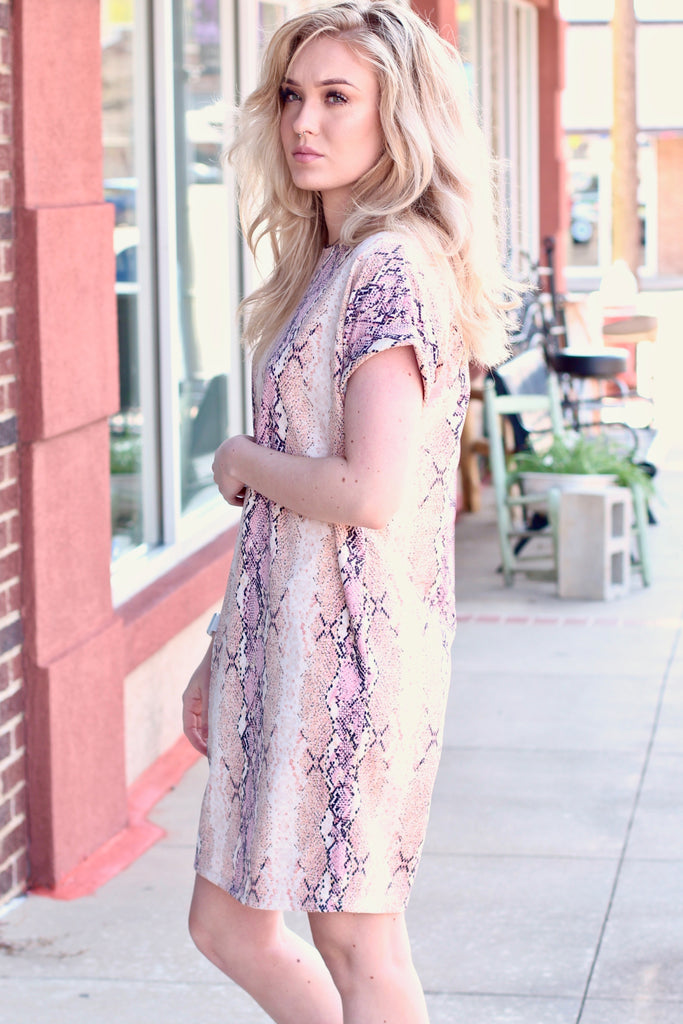 Blushing Snake Shift Dress w/ Pockets