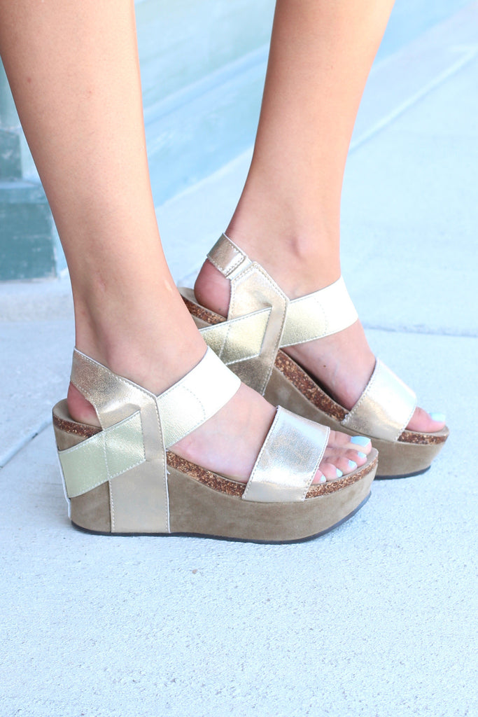 Hester Metallic Wedge Sandal {Gold} - The Fair Lady Boutique - 1