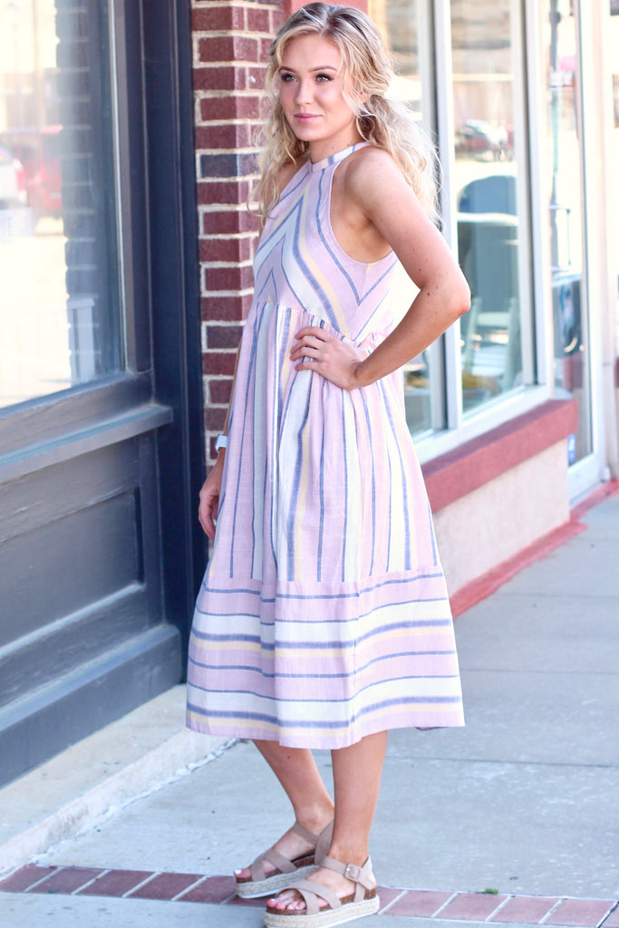 Sunshine Plum Multi-Color Striped Midi Dress