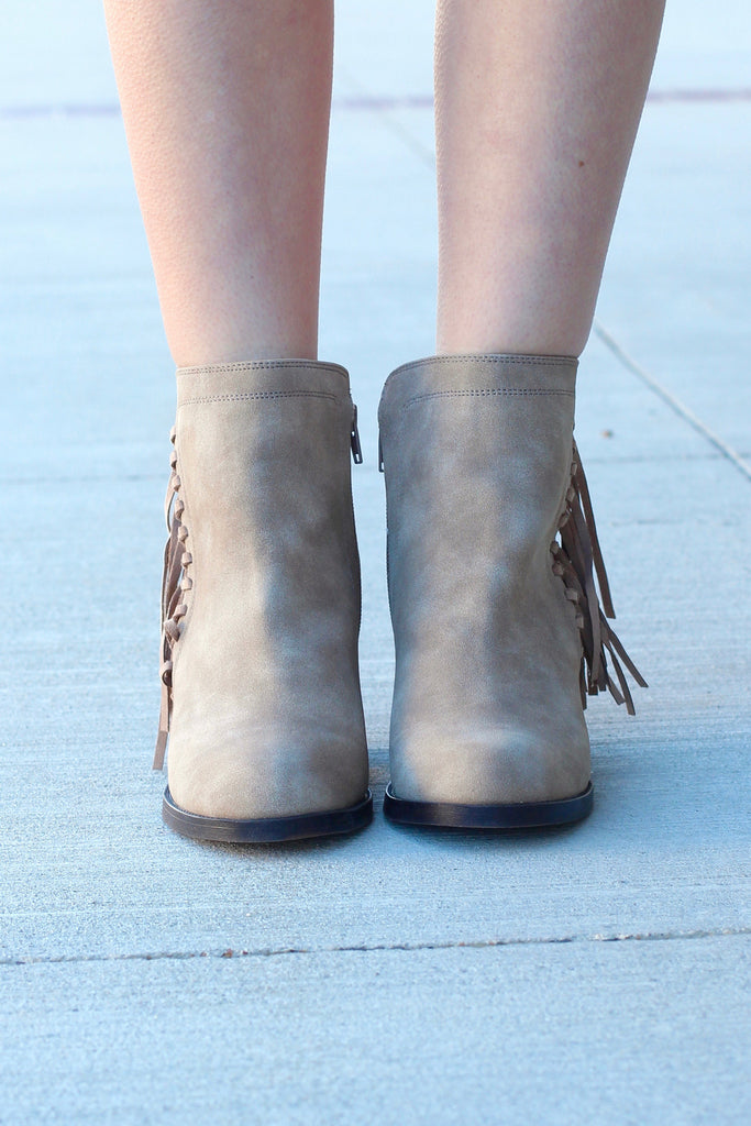 Vine Fringe Side Heeled Booties {Dk. Natural} - The Fair Lady Boutique - 3