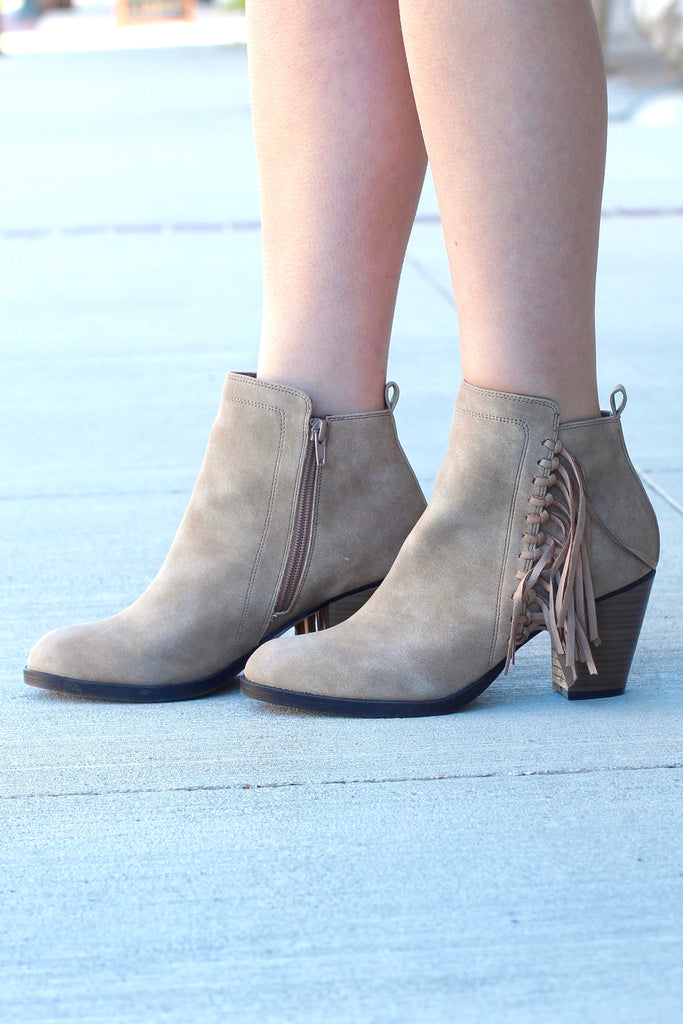 Vine Fringe Side Heeled Booties {Dk. Natural} - The Fair Lady Boutique - 2