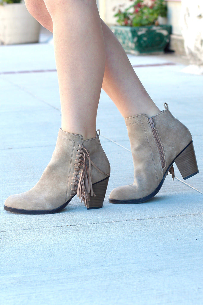 Vine Fringe Side Heeled Booties {Dk. Natural} - The Fair Lady Boutique - 1
