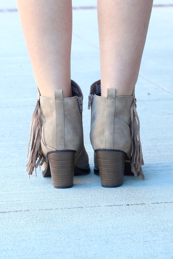 Vine Fringe Side Heeled Booties {Dk. Natural} - The Fair Lady Boutique - 4