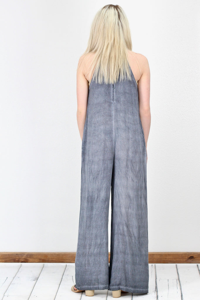 Oversized, High Neck Resort Jumpsuit {Charcoal}
