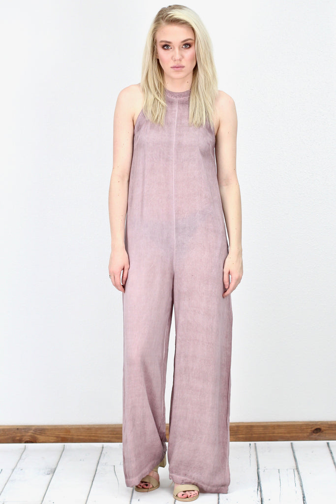 Oversized, High Neck Resort Jumpsuit {Dk. Mauve}