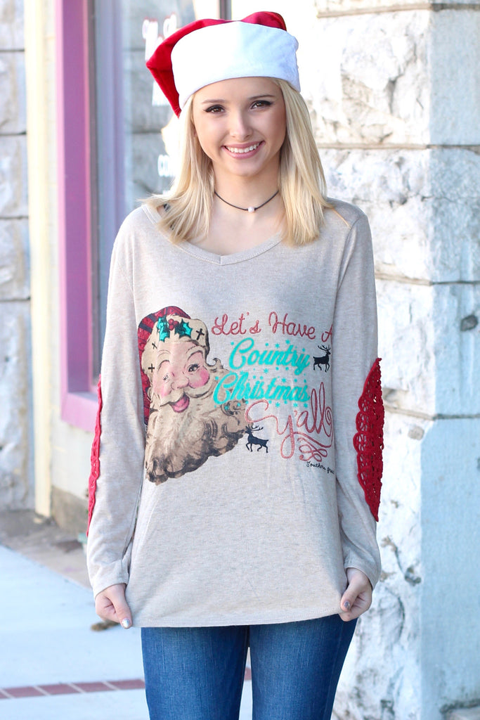 Santa: Country Christmas Y'all Lace Elbow Patch Sweater - The Fair Lady Boutique - 1