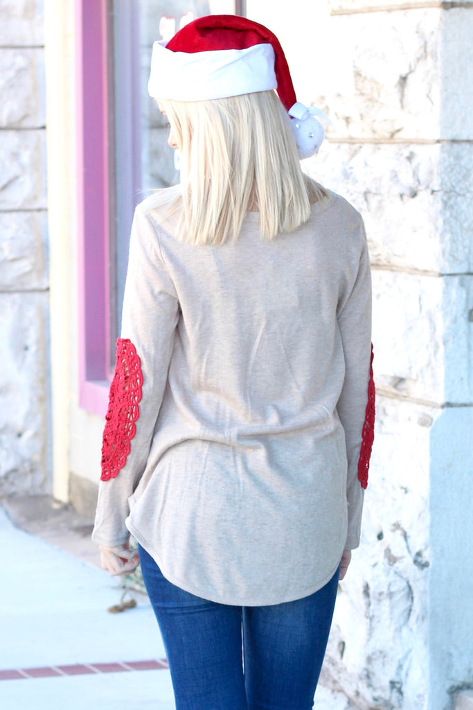 Santa: Country Christmas Y'all Lace Elbow Patch Sweater - The Fair Lady Boutique - 2