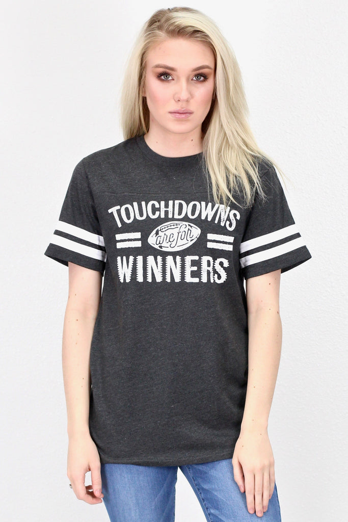 Touchdowns are for Winners Ringer Tee {Smoke Grey} - Size LARGE