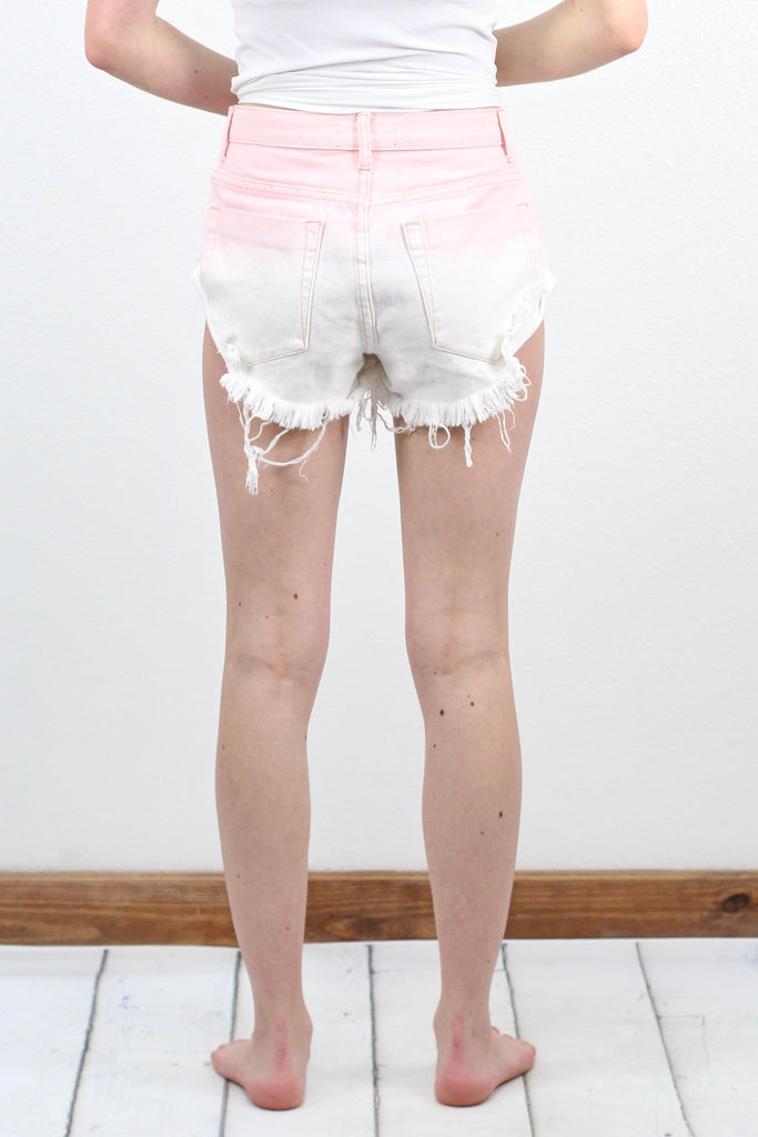 Ombre Denim Shortie Cutoffs {Pink}
