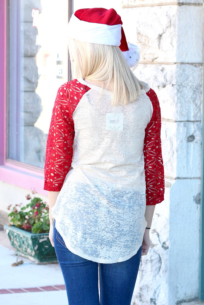 Holly Jolly Christmas Lace Sleeve Burnout Raglan - The Fair Lady Boutique - 3