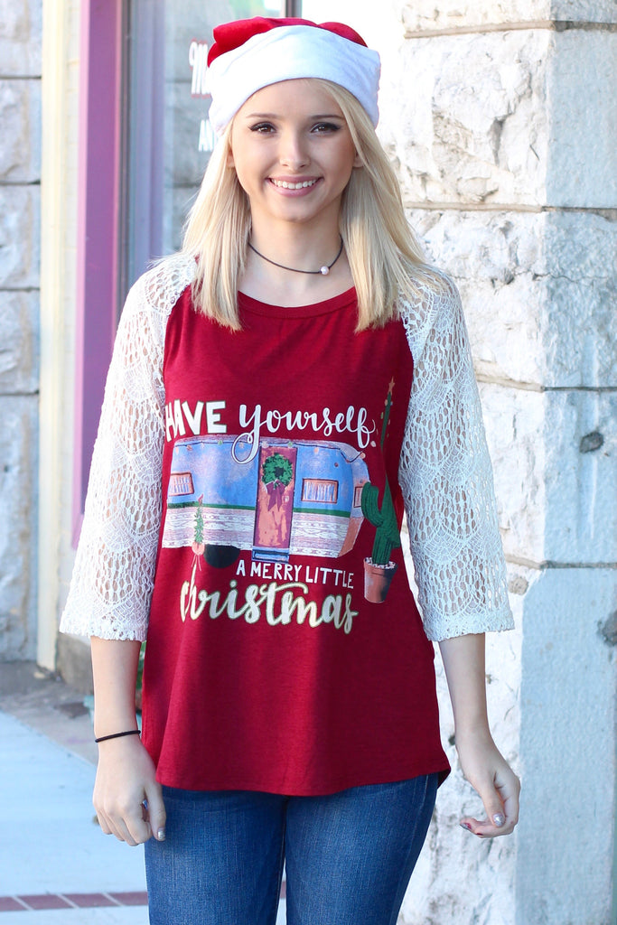 Merry Little Christmas Trailer + Cactus Lace Sleeve Raglan - The Fair Lady Boutique - 1