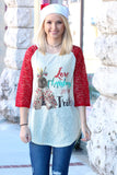 Love Christmas w/ My Tribe Lace Sleeve Raglan - The Fair Lady Boutique - 1