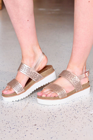 Volatile: Starlight Metallic Sandal {Rose Gold}
