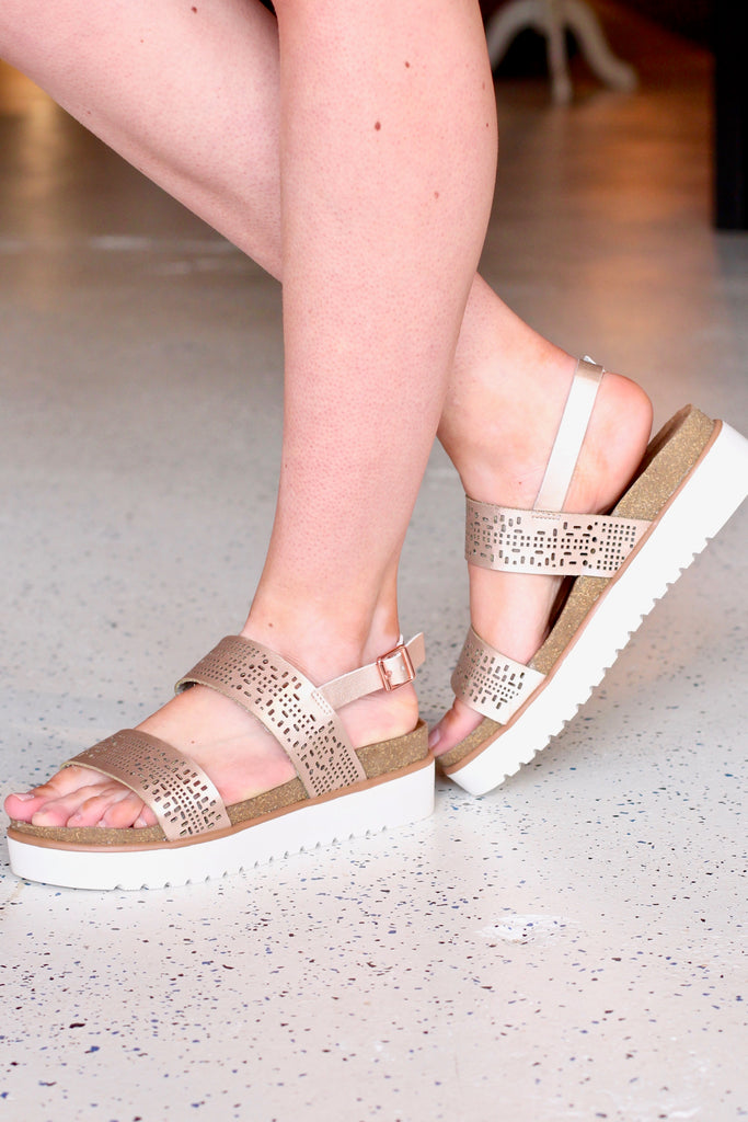 Not Rated: Anatalia Champagne Flatform Sandals