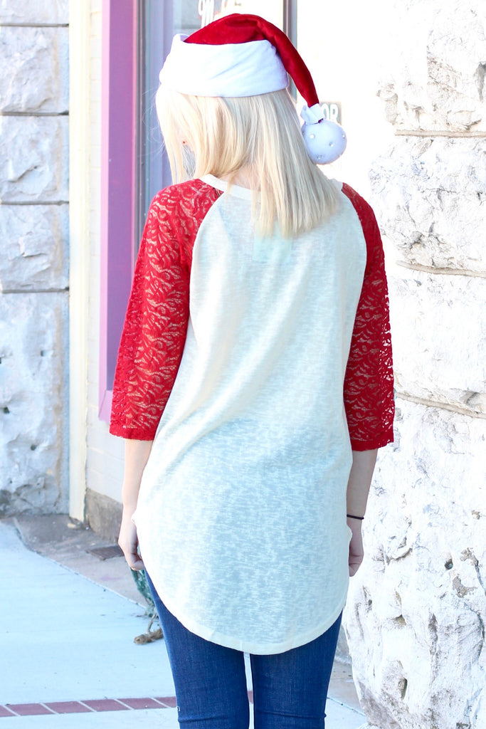 Love Christmas w/ My Tribe Lace Sleeve Raglan - The Fair Lady Boutique - 3