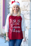 Jesus is the Reason for the Season Glitter Lace Sleeve Raglan - The Fair Lady Boutique - 1