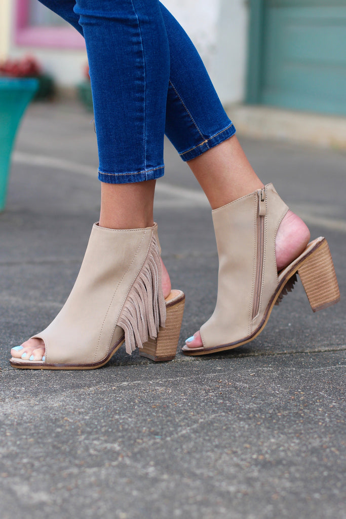 Very Volatile: Poca Fringe City Bootie Sandal {Taupe} - The Fair Lady Boutique - 2