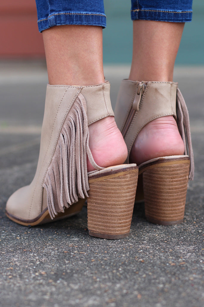 Very Volatile: Poca Fringe City Bootie Sandal {Taupe} - The Fair Lady Boutique - 3