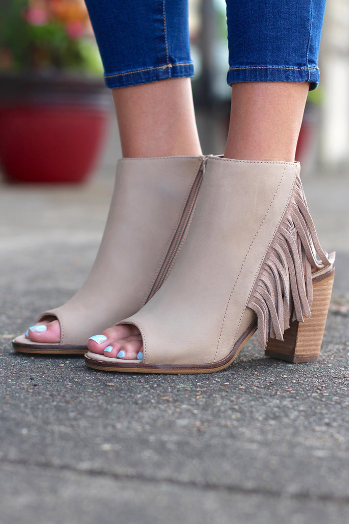 Very Volatile: Poca Fringe City Bootie Sandal {Taupe} - The Fair Lady Boutique - 1