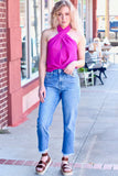 {Magenta} Catwalk Criss Cross High Neck Blouse