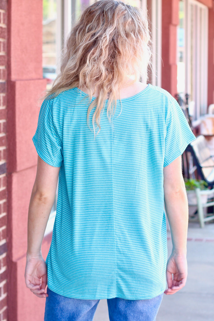 Aqua S/S V-neck Striped Top LARGE