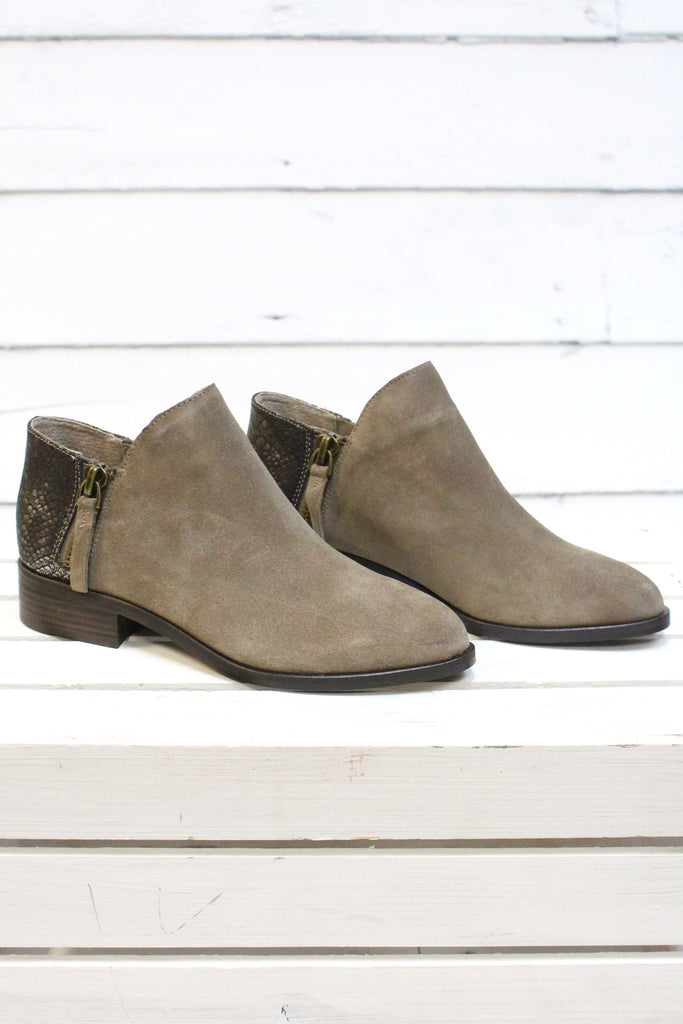 Very Volatile: Greyson Snake Embossed Suede Bootie {Taupe} - The Fair Lady Boutique - 4