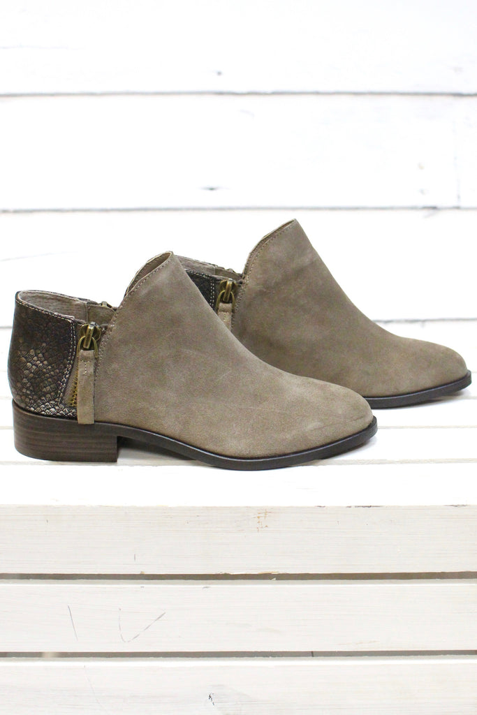 Very Volatile: Greyson Snake Embossed Suede Bootie {Taupe} - The Fair Lady Boutique - 3