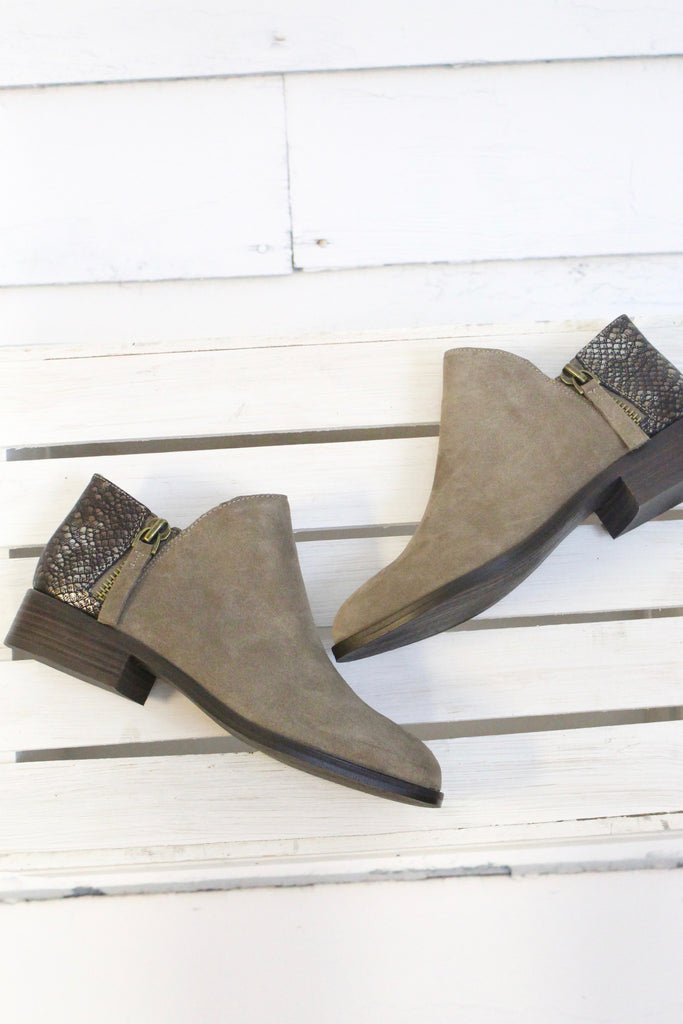 Very Volatile: Greyson Snake Embossed Suede Bootie {Taupe} - The Fair Lady Boutique - 7