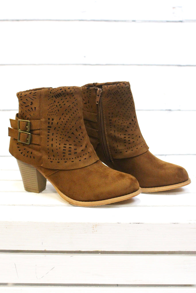 Denny Perforated Suede Bootie {Tan} - The Fair Lady Boutique - 3