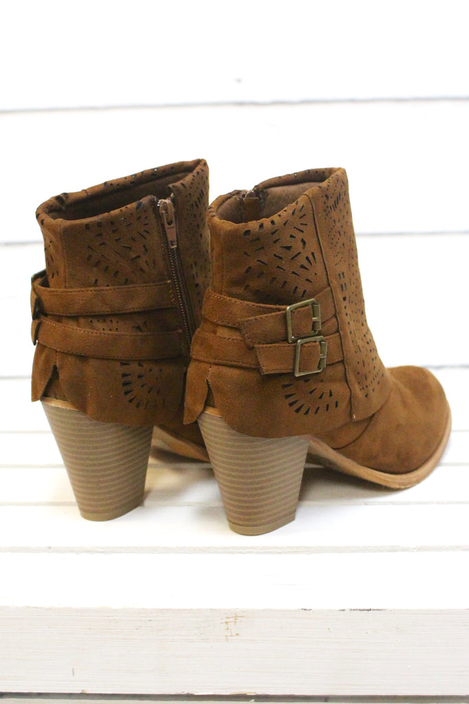 Denny Perforated Suede Bootie {Tan} - The Fair Lady Boutique - 6
