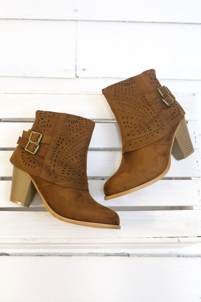 Denny Perforated Suede Bootie {Tan} - The Fair Lady Boutique - 2