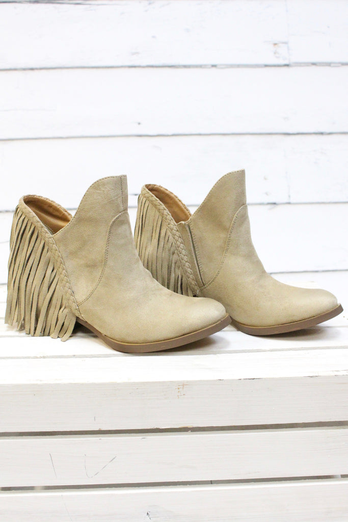 Not Rated: Braxton Fringe Back Booties {Beige} - The Fair Lady Boutique - 1