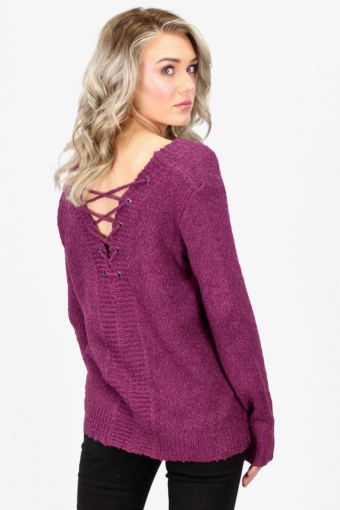 Lace Up Back Knit Sweater {Purple}