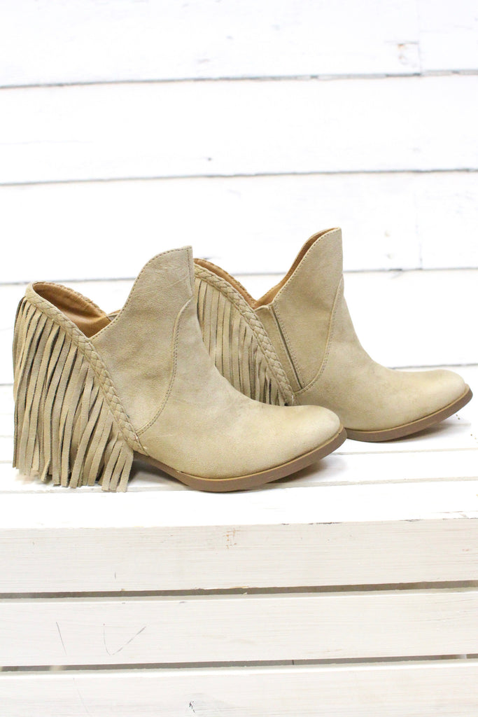 Not Rated: Braxton Fringe Back Booties {Beige} - The Fair Lady Boutique - 3