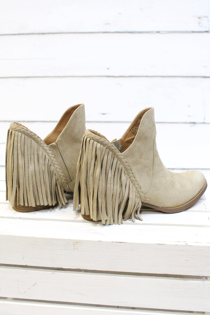 Not Rated: Braxton Fringe Back Booties {Beige} - The Fair Lady Boutique - 2