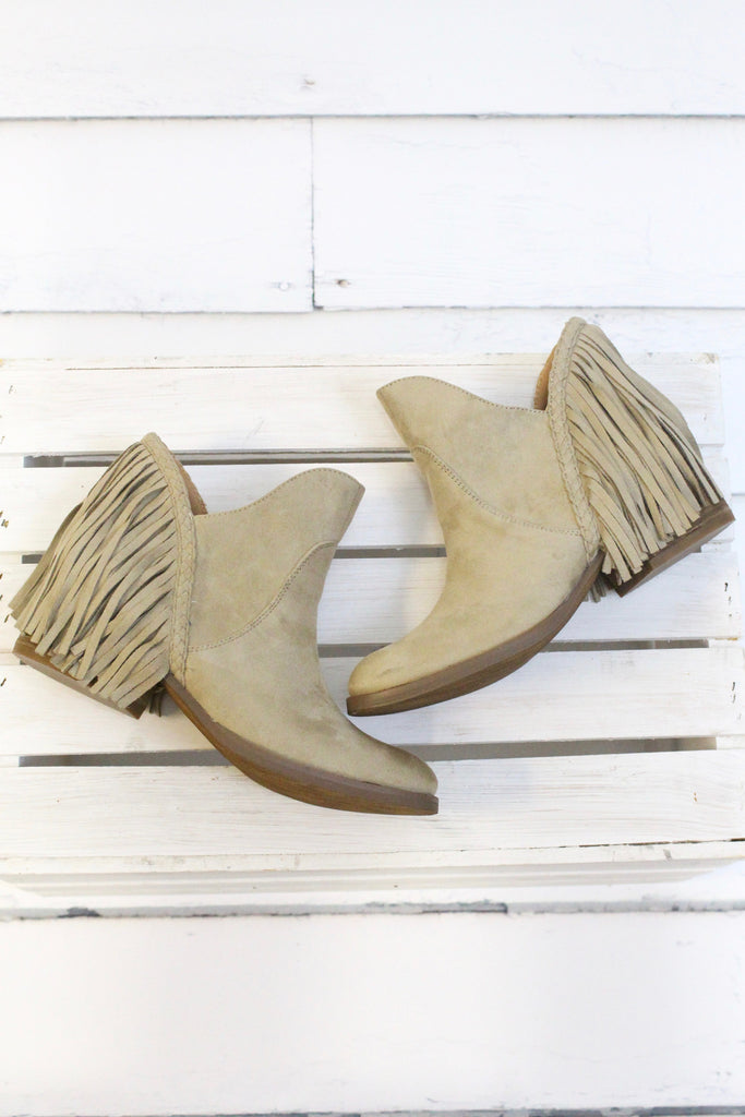 Not Rated: Braxton Fringe Back Booties {Beige} - The Fair Lady Boutique - 6