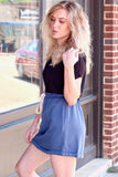 Navy Heathered Casual Skirt w/ Pockets