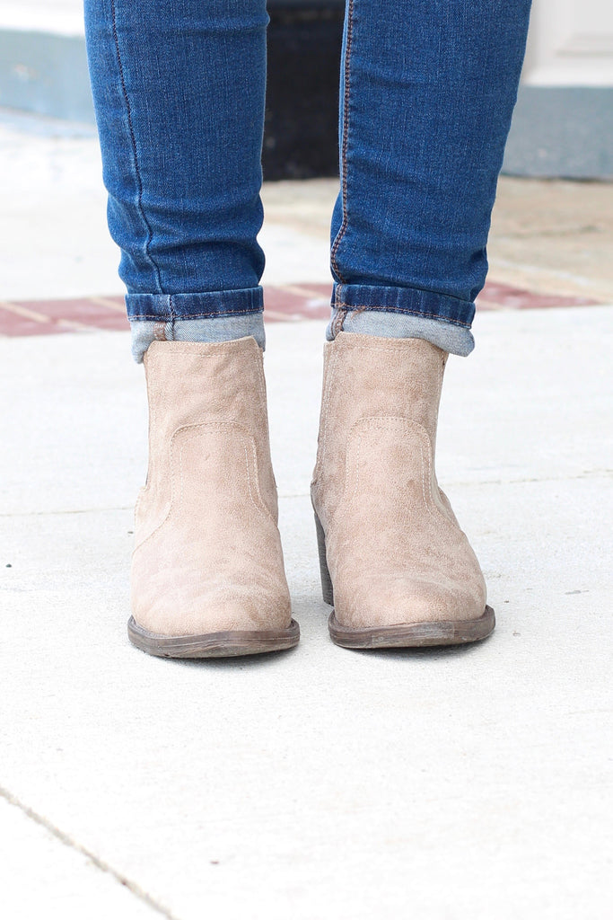 Very Volatile: Hattie Pull On Bootie {Distressed Beige} - The Fair Lady Boutique - 3