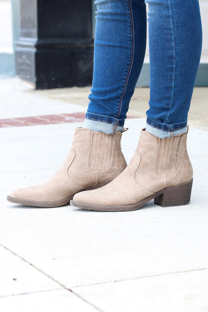 Very Volatile: Hattie Pull On Bootie {Distressed Beige} - The Fair Lady Boutique - 1