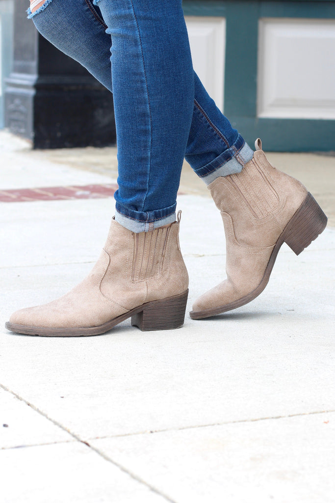 Very Volatile: Hattie Pull On Bootie {Distressed Beige} - The Fair Lady Boutique - 4